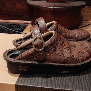 Algeria clogs size 37 Seville tooled leather brown